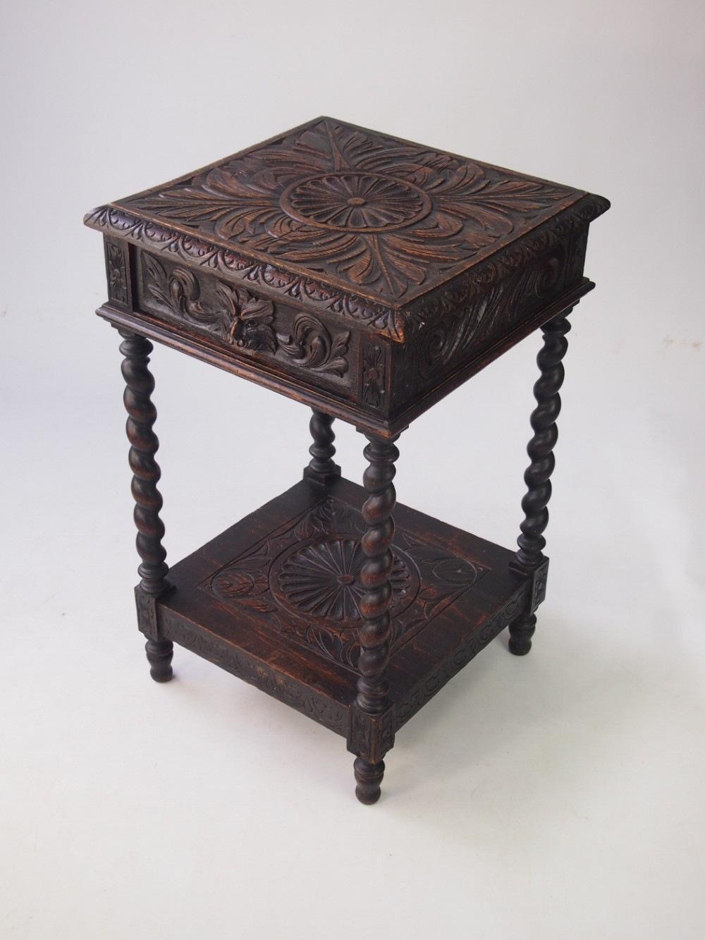 Small Victorian Gothic Revival Oak Side Table. Antique Photo
