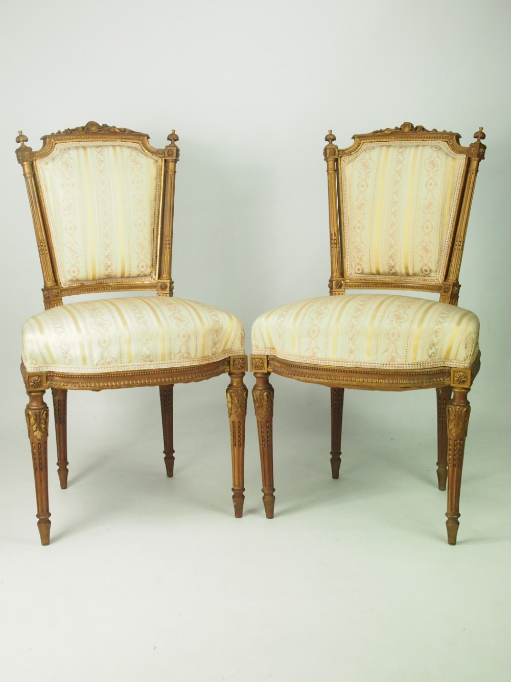 Pair Of Antique Giltwood French Side Chairs In Louis Xvi Style