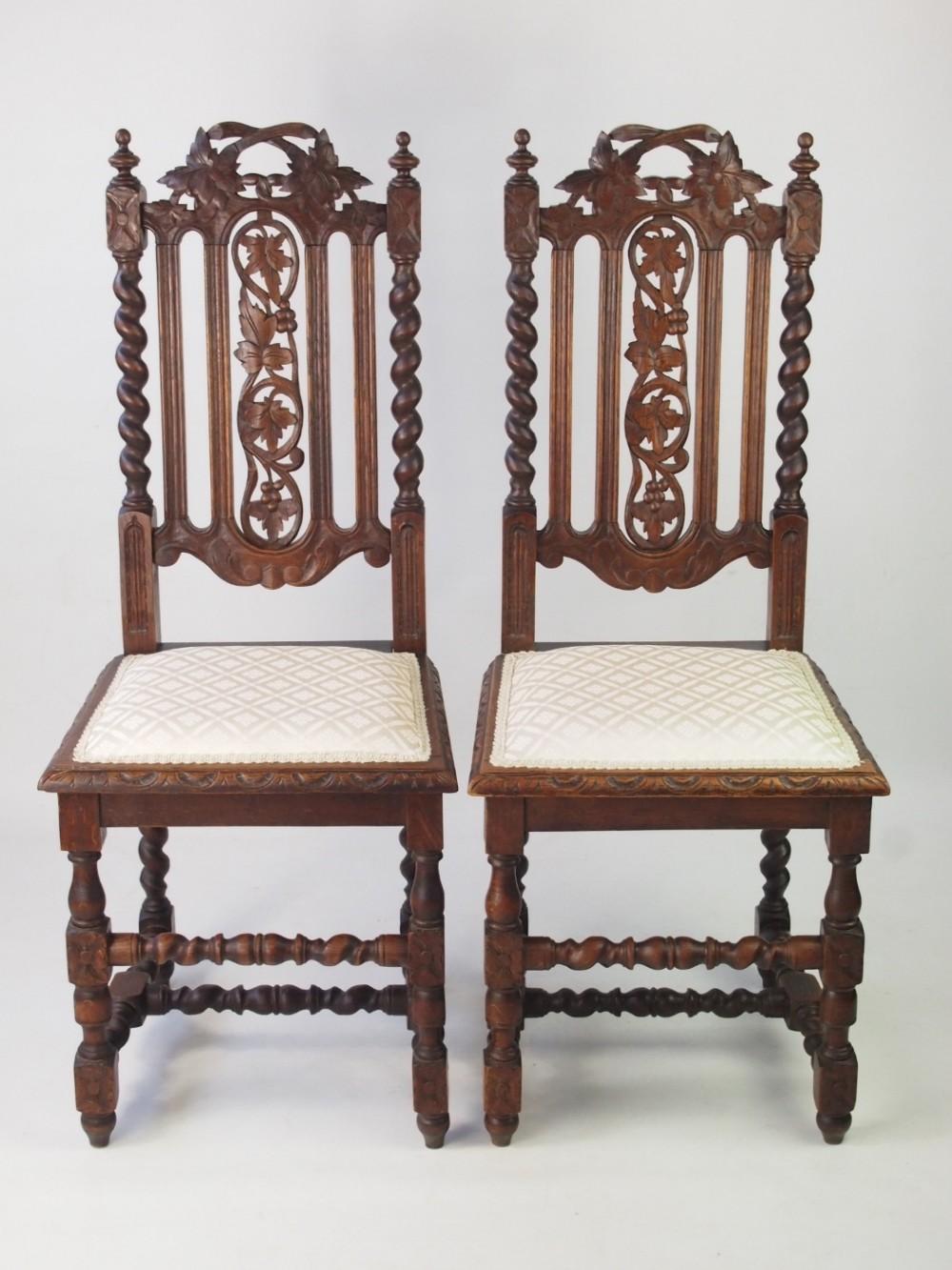pair antique victorian gothic revival oak chairs - Pair Antique Victorian Gothic Revival Oak Chairs 385829