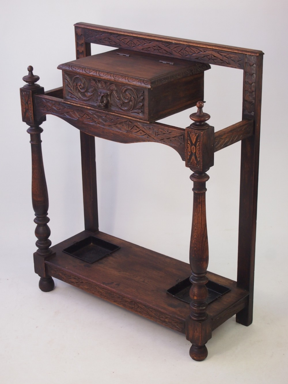 Victorian Gothic Carved Oak Hall Stand Or Umbrella Stand 413013
