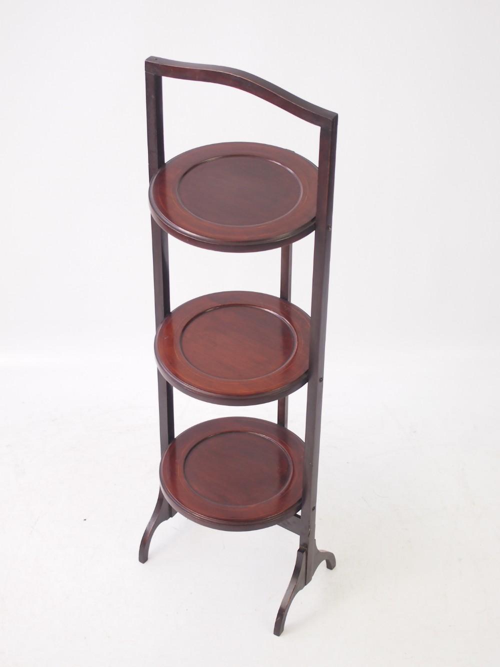 edwardian inlaid mahogany cake stand
