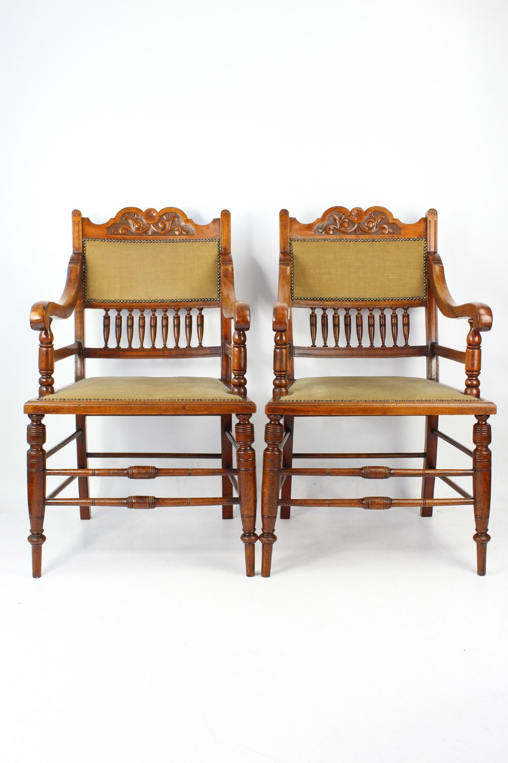 pair edwardian arts crafts walnut chairs open armchairs