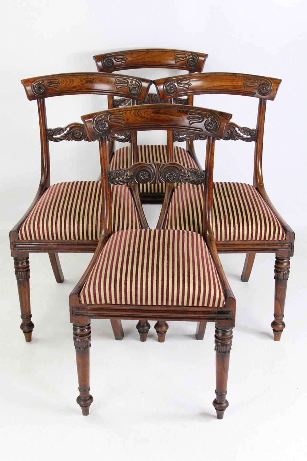 set 4 antique william iv rosewood dining chairs in the manner of gillows