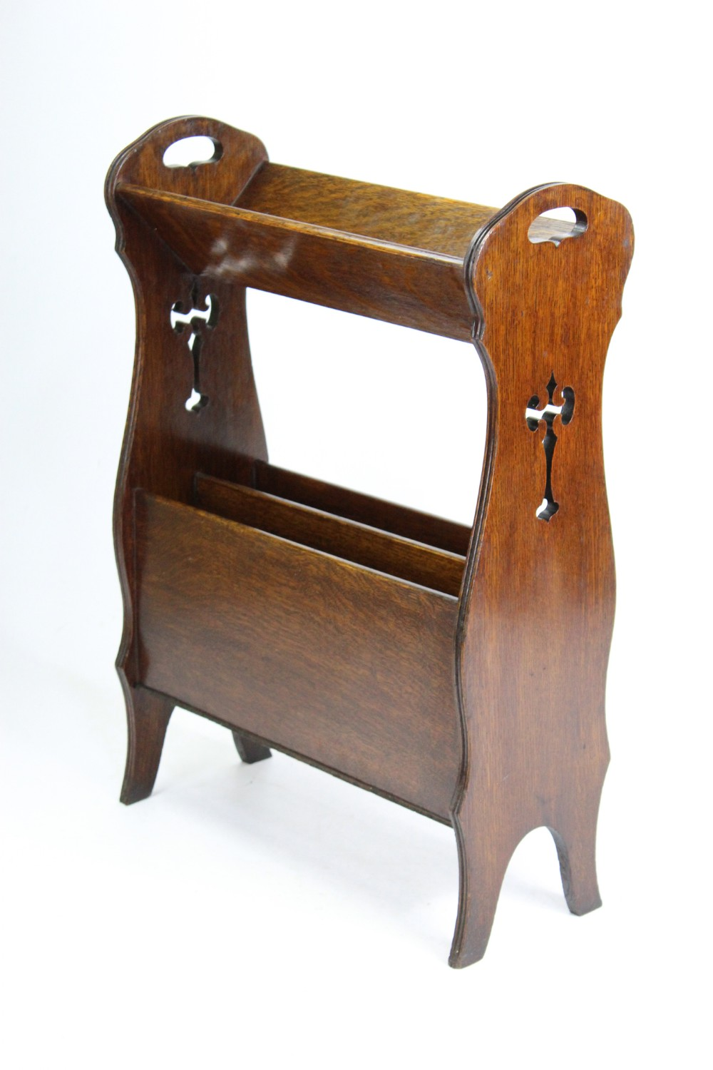 edwardian arts crafts oak book trough stand bookcase