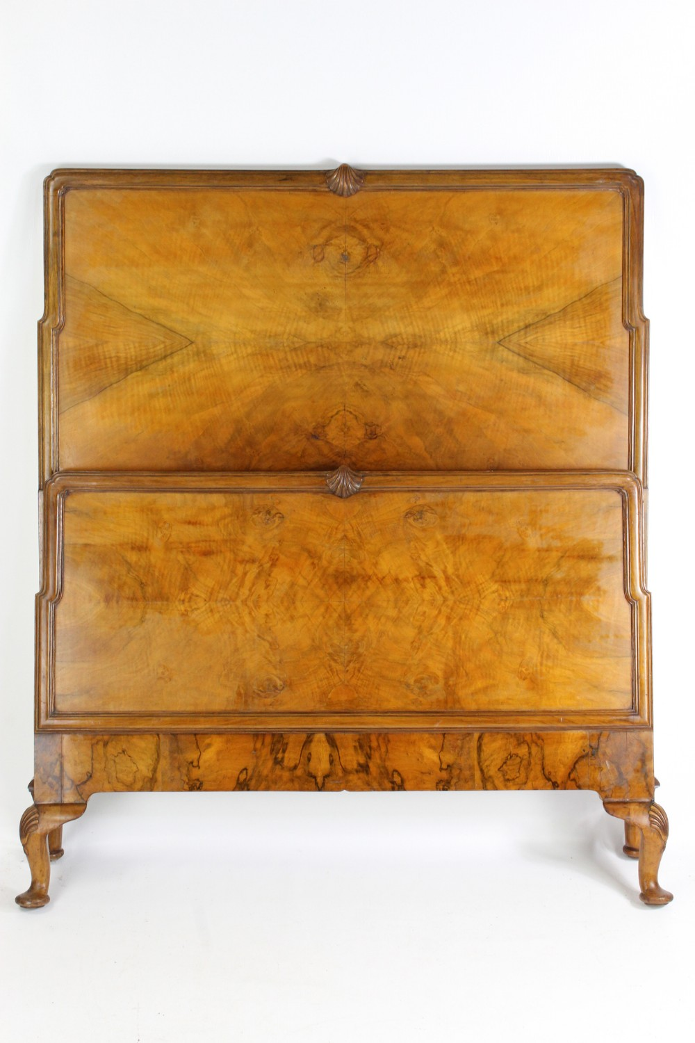 art deco large single 3ft6 shell carved walnut bed