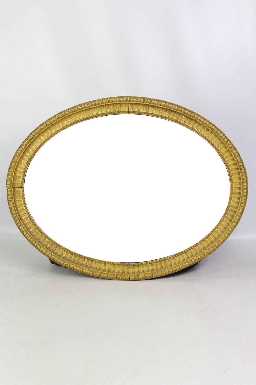 19th century english giltwood oval mirror
