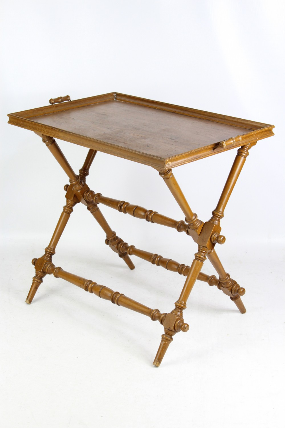 victorian pine butlers serving tray on folding stand