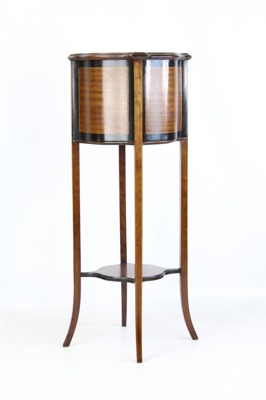 edwardian mahogany inlaid jardinire plant stand