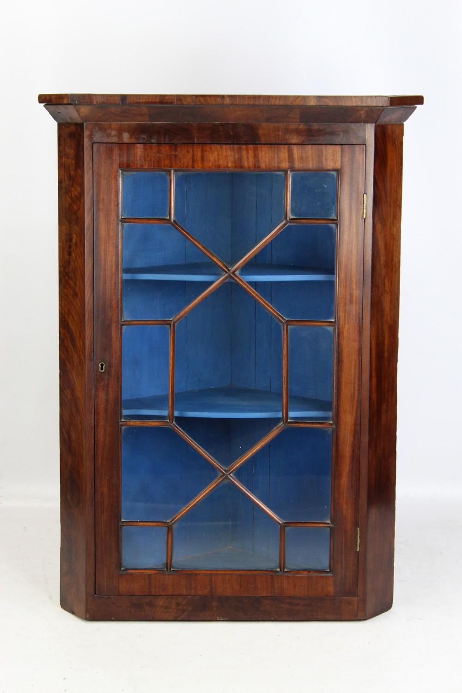astragal glazed mahogany corner cabinet