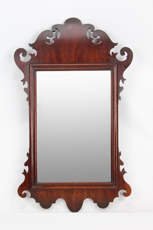 georgian mahogany fretwork mirror with curved pediment