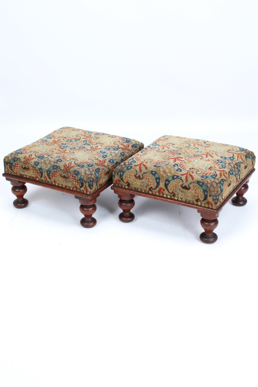 pair victorian mahogany campaign footstools foot stools