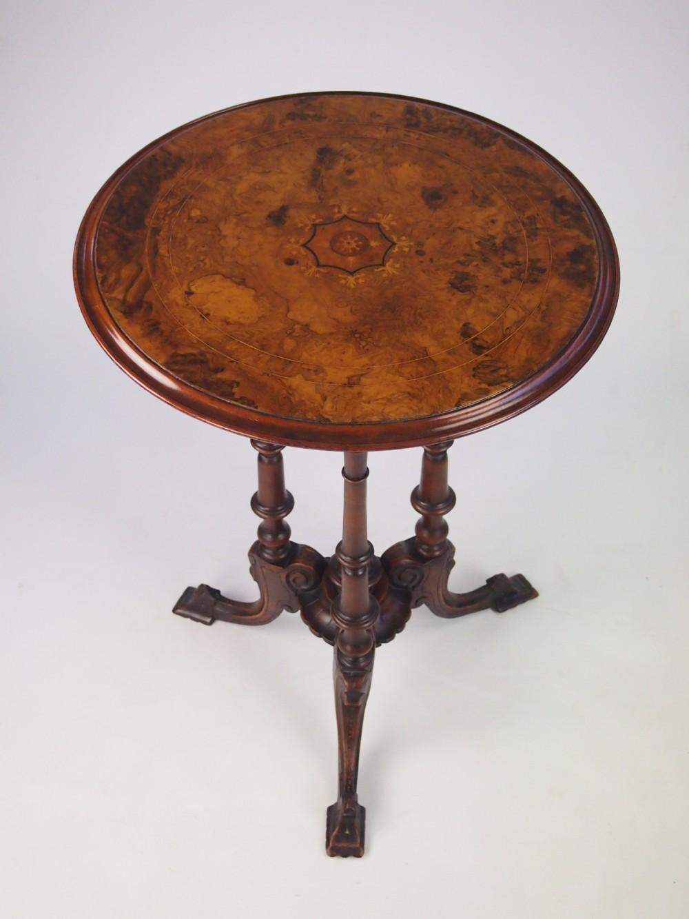 Antique Lamp Vintage Table Co : Fine antique victorian burr walnut tripod lamp table