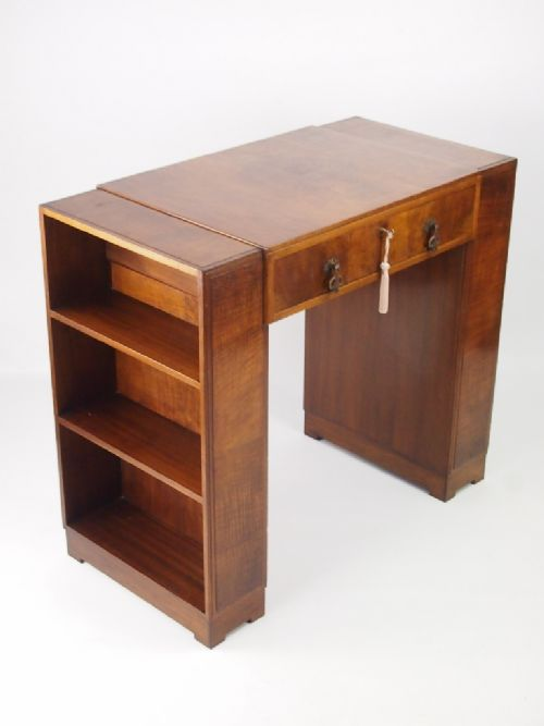 small art deco walnut desk with bookcase sides 305151. Black Bedroom Furniture Sets. Home Design Ideas