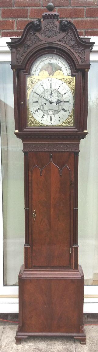 freemasons dial grandfatherlongcase clock also moon phases maker richard hornby of oldham 1770