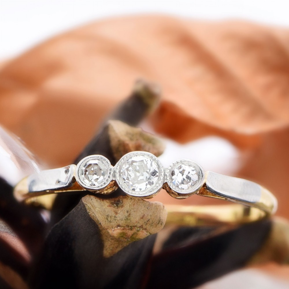 vintage diamond 18ct gold and platinum trilogy ring