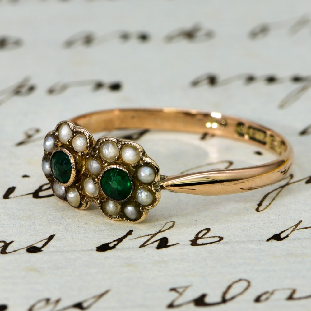 the antique victorian pearl and emerald floral ring