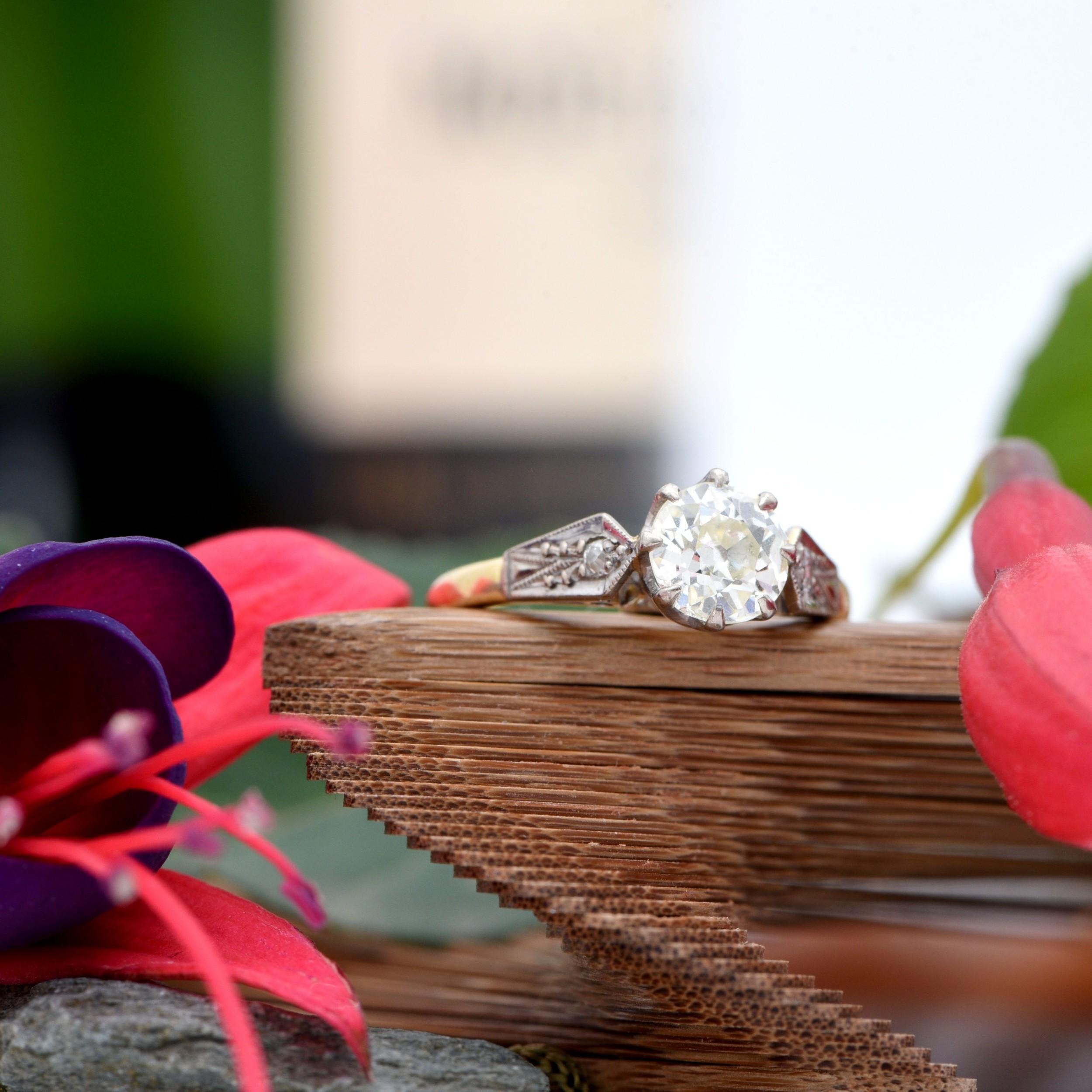 mid 20th century vintage bold shouldered diamond ring
