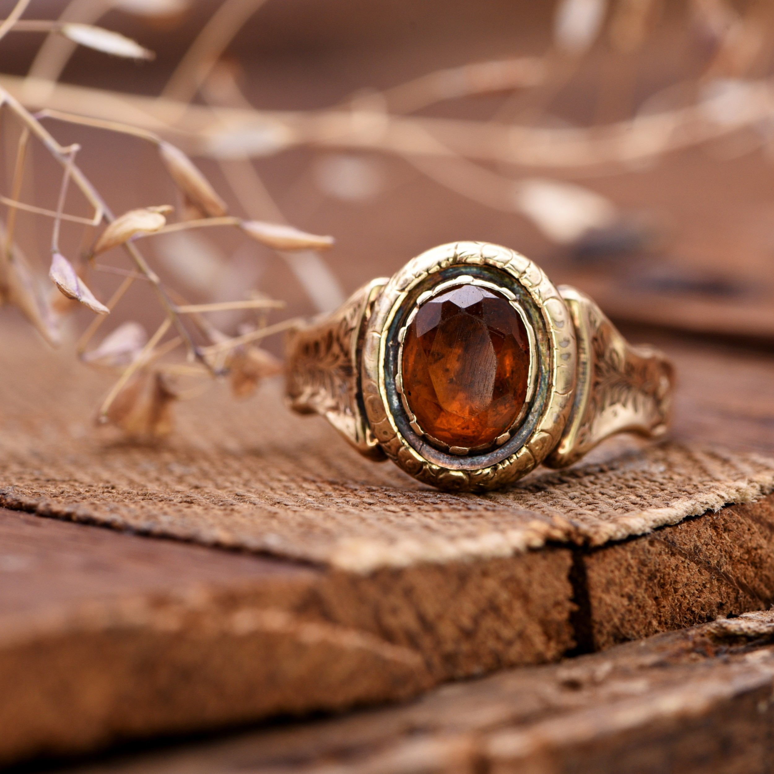 the late victorian ornate autumnal citrine gold ring