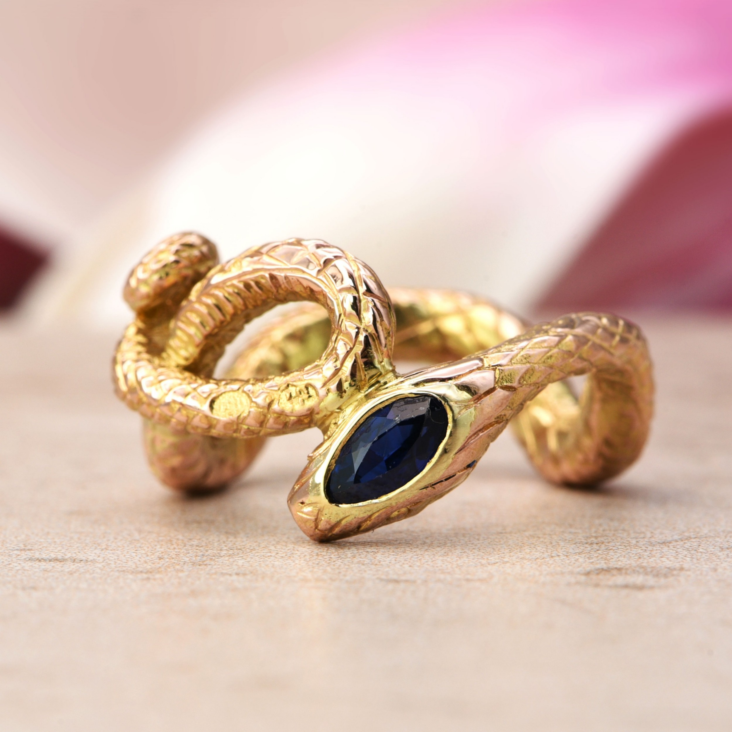 the antique russian coiled sapphire snake ring