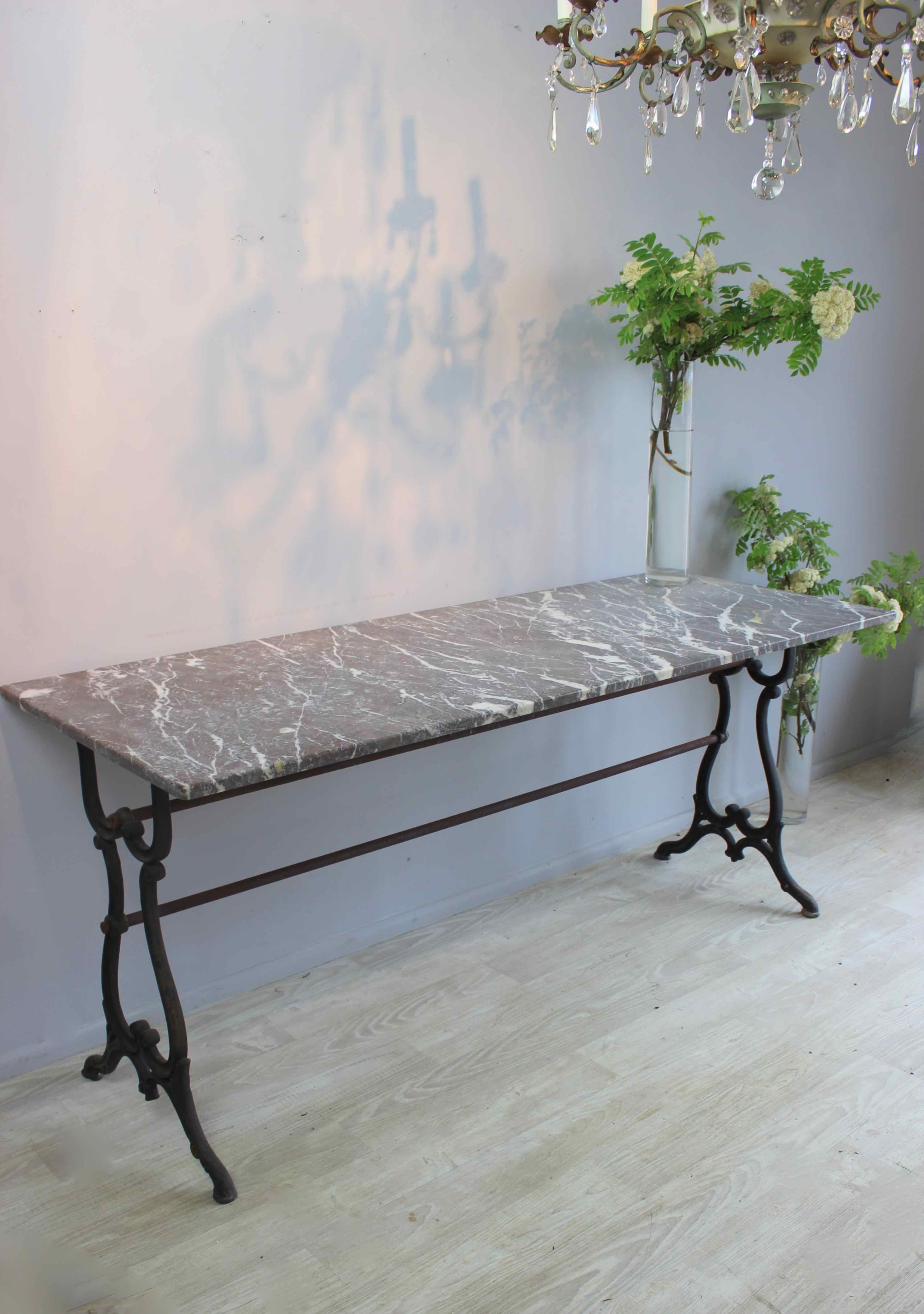 elegant simple marble topped french table