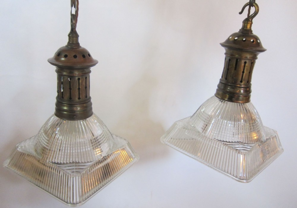 Outstanding Pair Of Holophane Pendant Lights | 628123