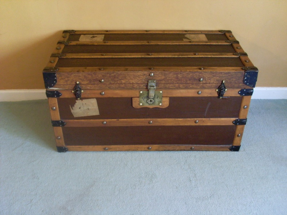 An Attractive Victorian Steamer Trunk Coffee Table
