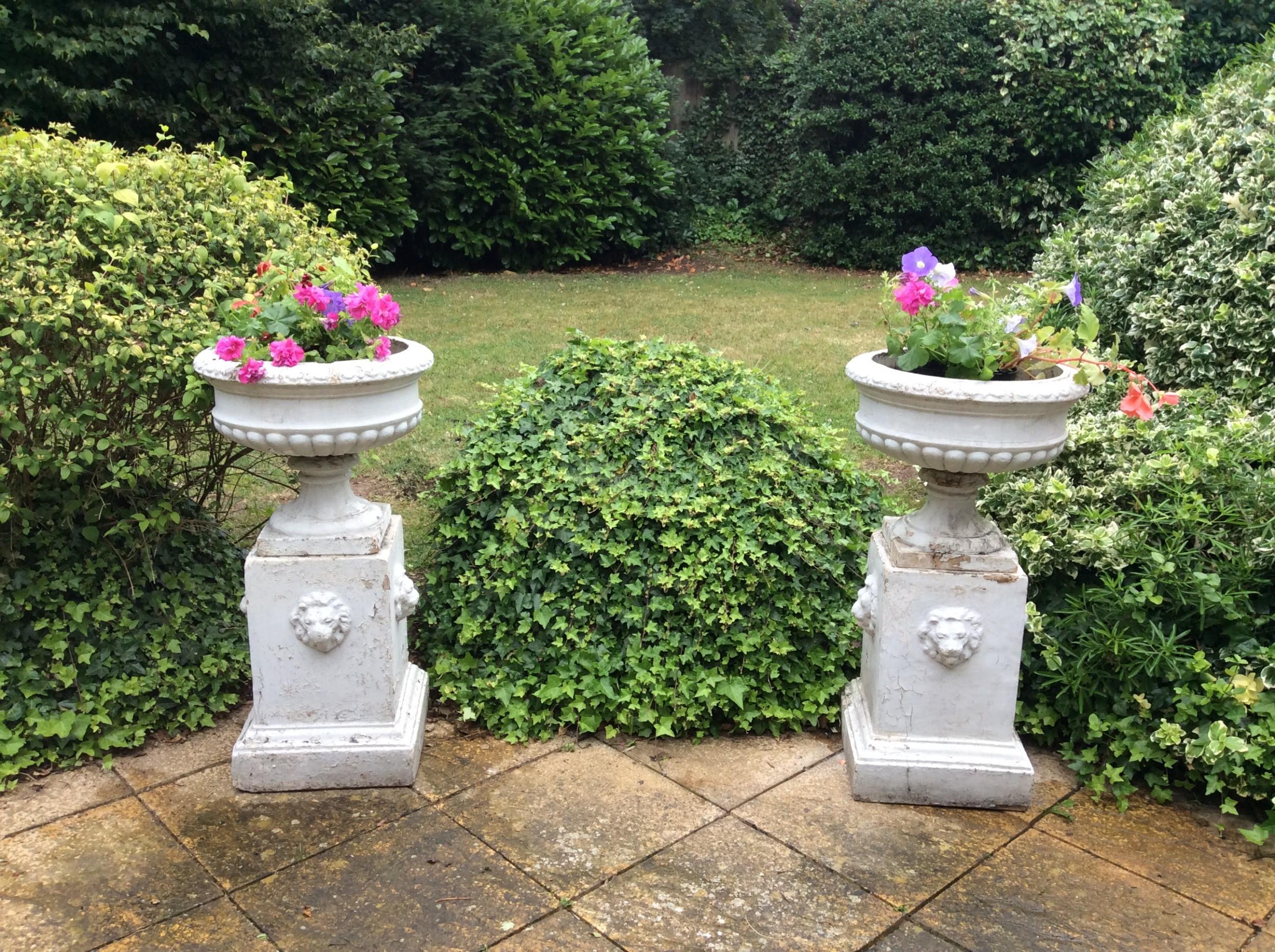 a pair of large 19thc garden urns