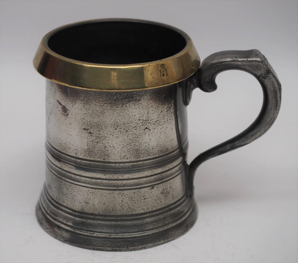 antique english pewter 1 pint brass rim measure w r loftus circa 1900