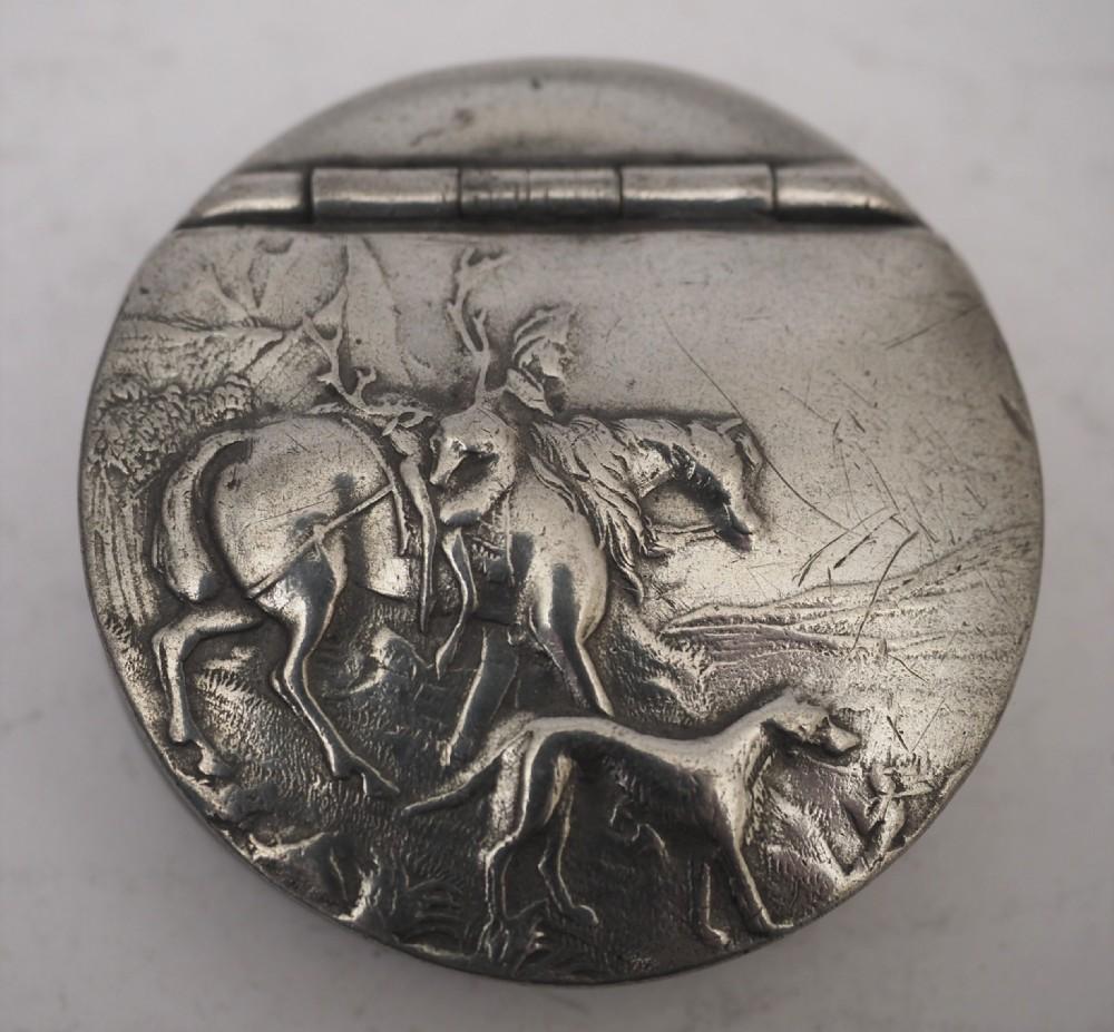 english pewter pocket snuff or tobacco box james dixon circa 1930