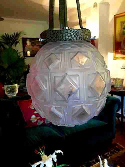 iconic art deco ceiling light bronze and frosted glass