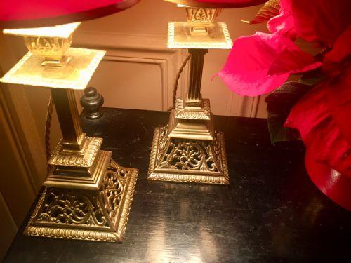 Pair Pierced Georgian Mantelpiece Or Consol Lamps 513768
