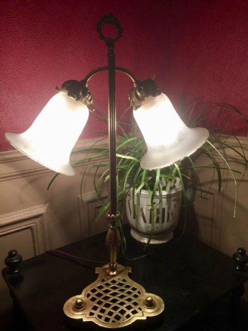 original art nouveau tall table desk lamp brass