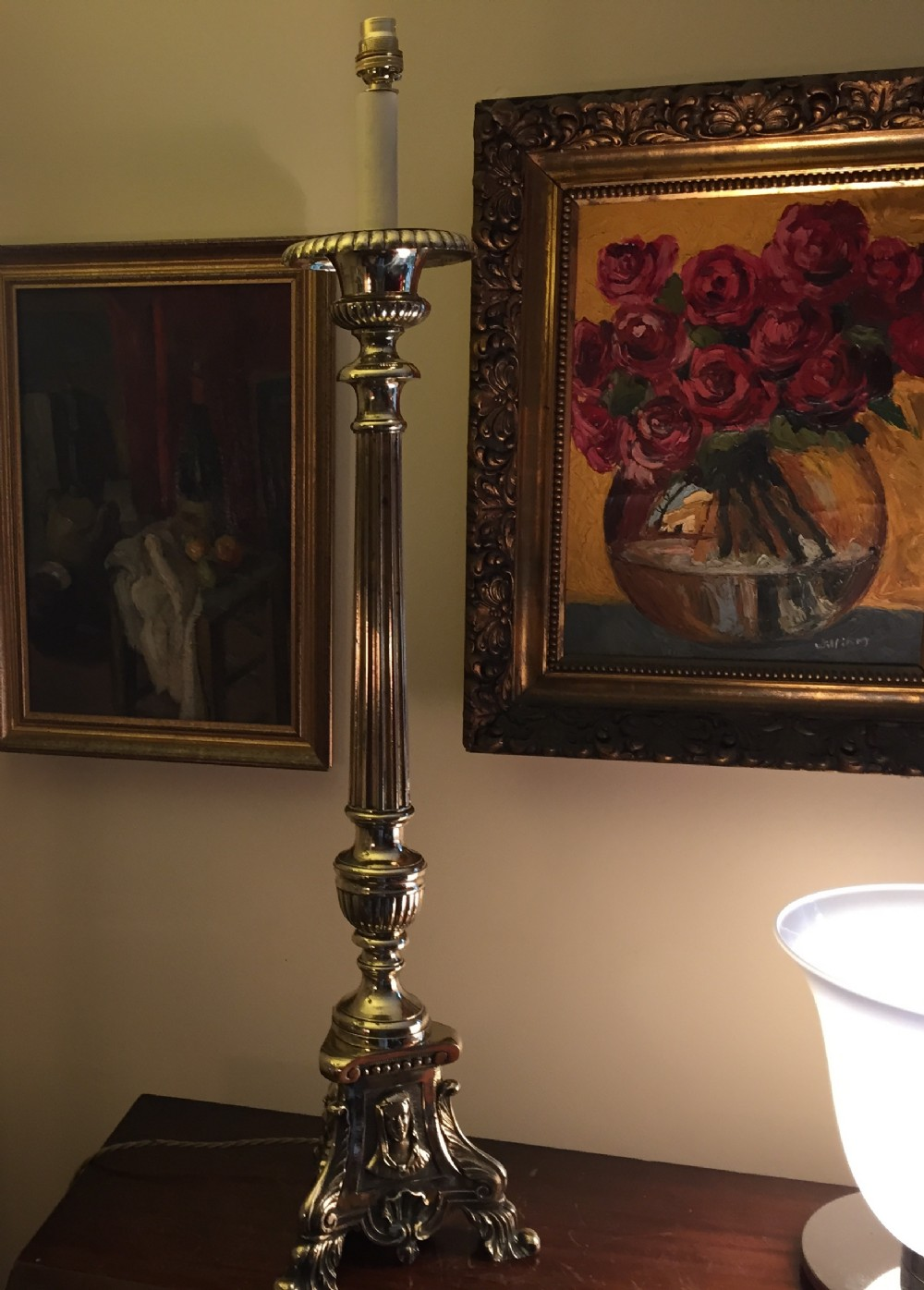 Impressive Antique Tall Table Lamp Pricket Brass   325508 ...