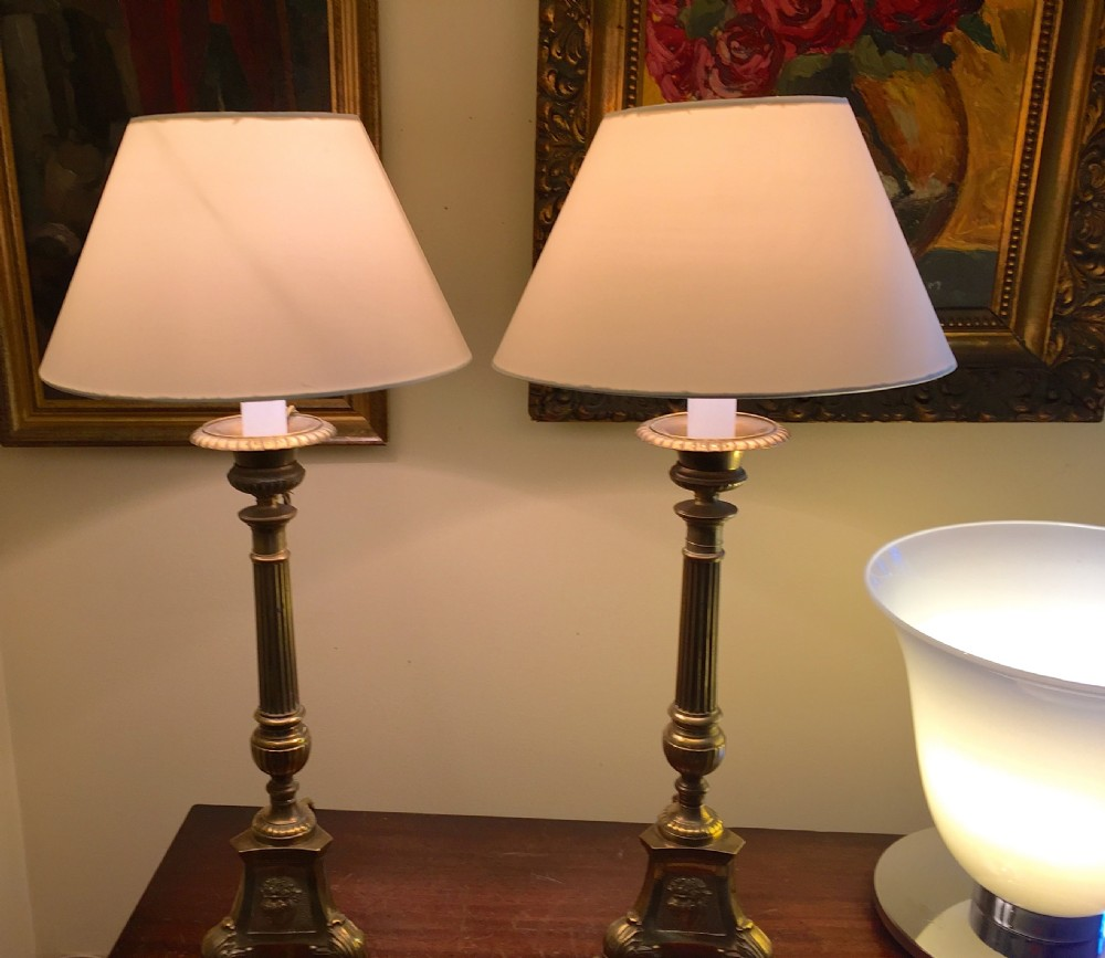1850 pair prickets table lamps bronze 334922 sellingantiques 1850 pair prickets table lamps bronze aloadofball Image collections