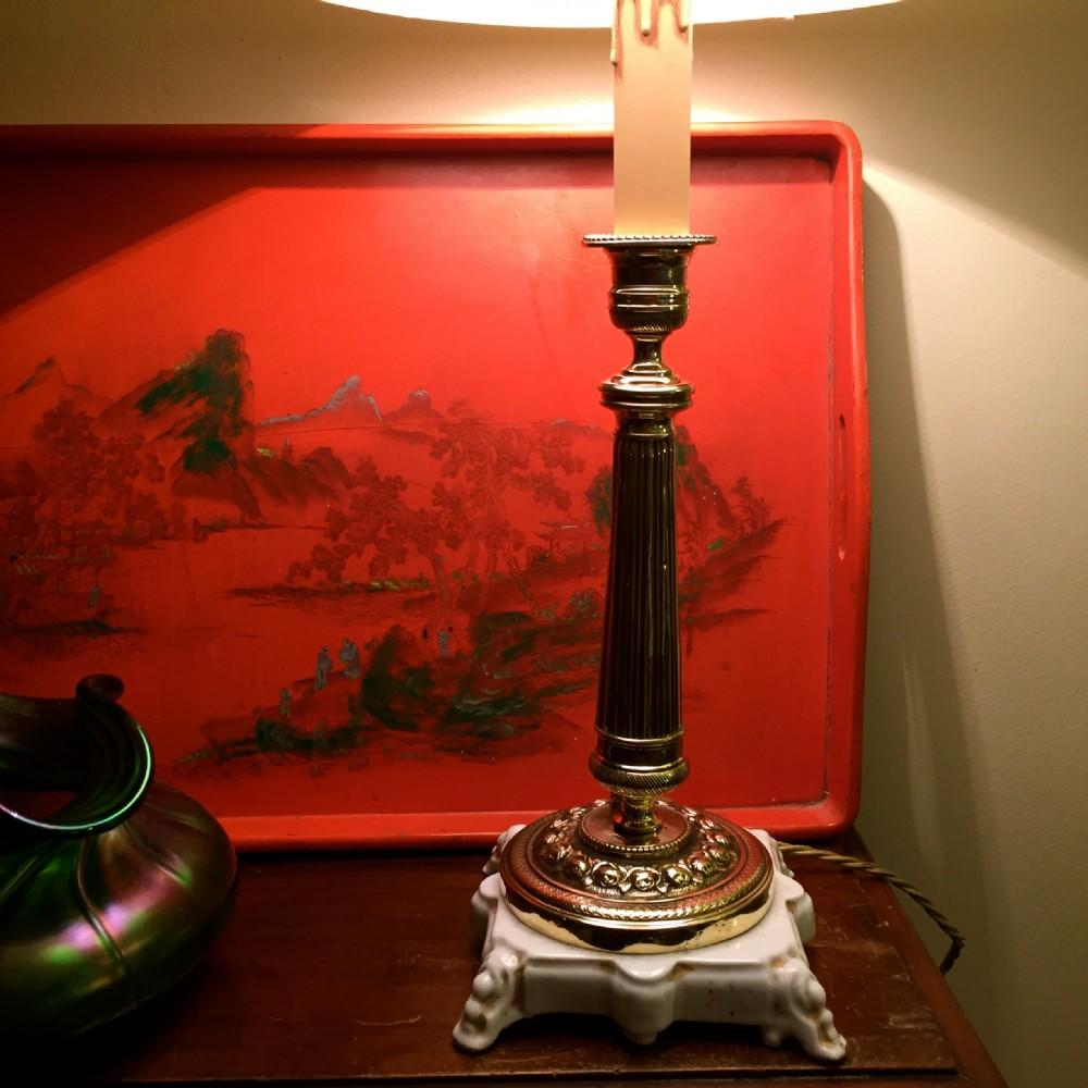 elegant 1920 column table lamp brass on porcelain de paris