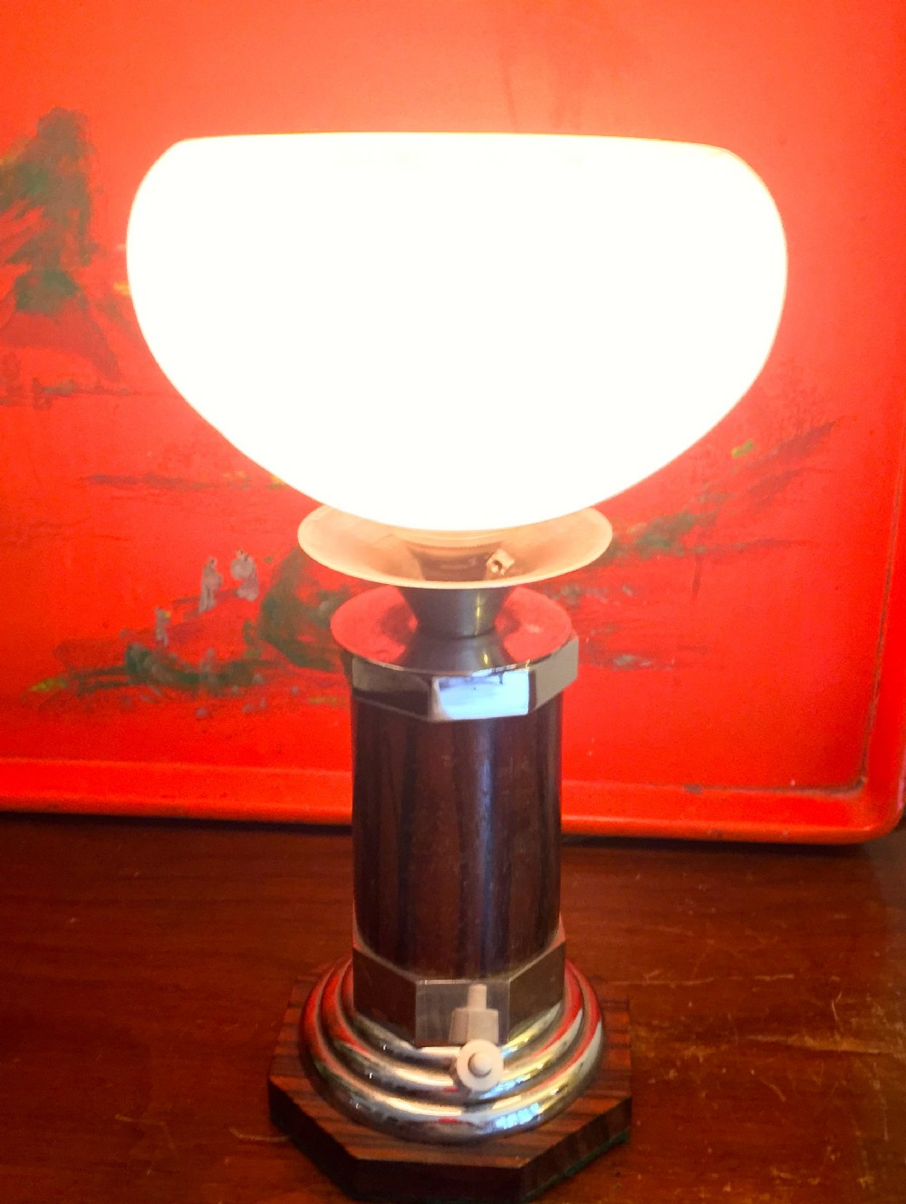 splendid art deco consol lamp chrome macassar and schneider mottled shade