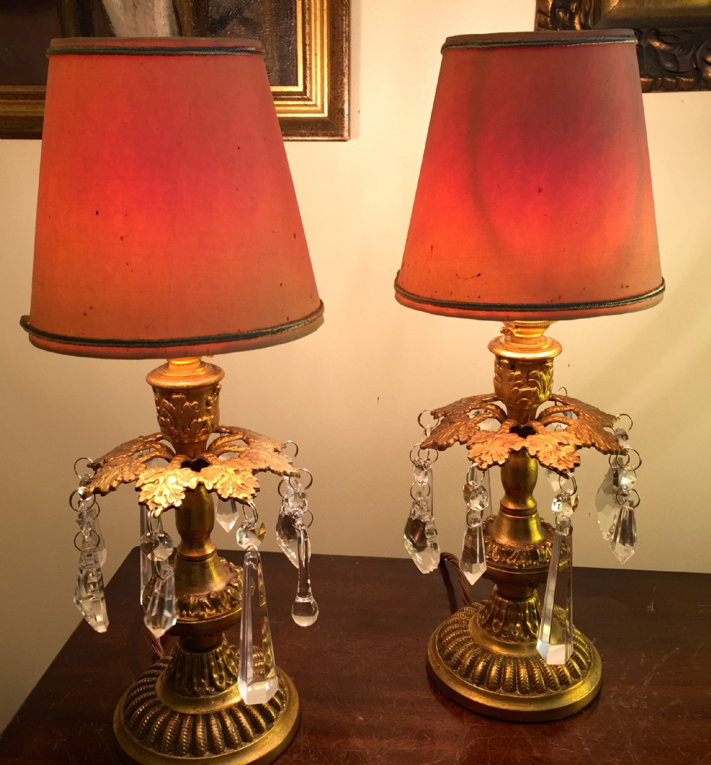Pair attractive regency style boudoir or dressing table for Dressing table lamp lighting