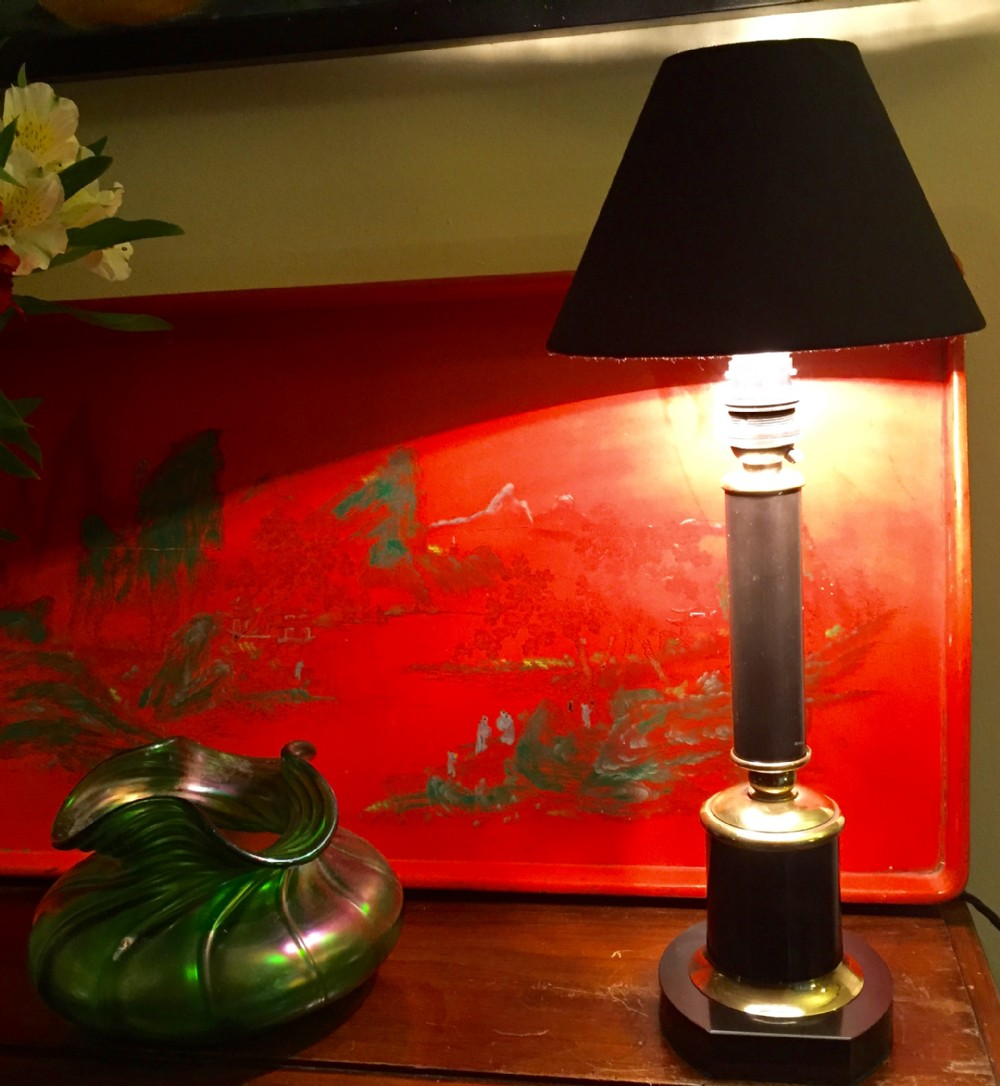 empire style column desk lamp black tolware brass and marble base