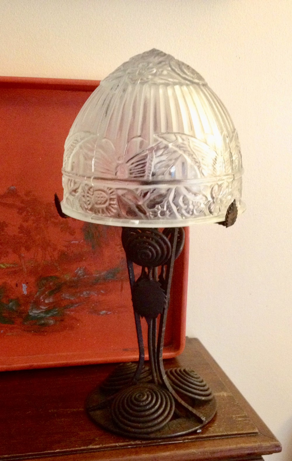 Art Deco Table Lamp Wrought Iron And Glass Dome 508401