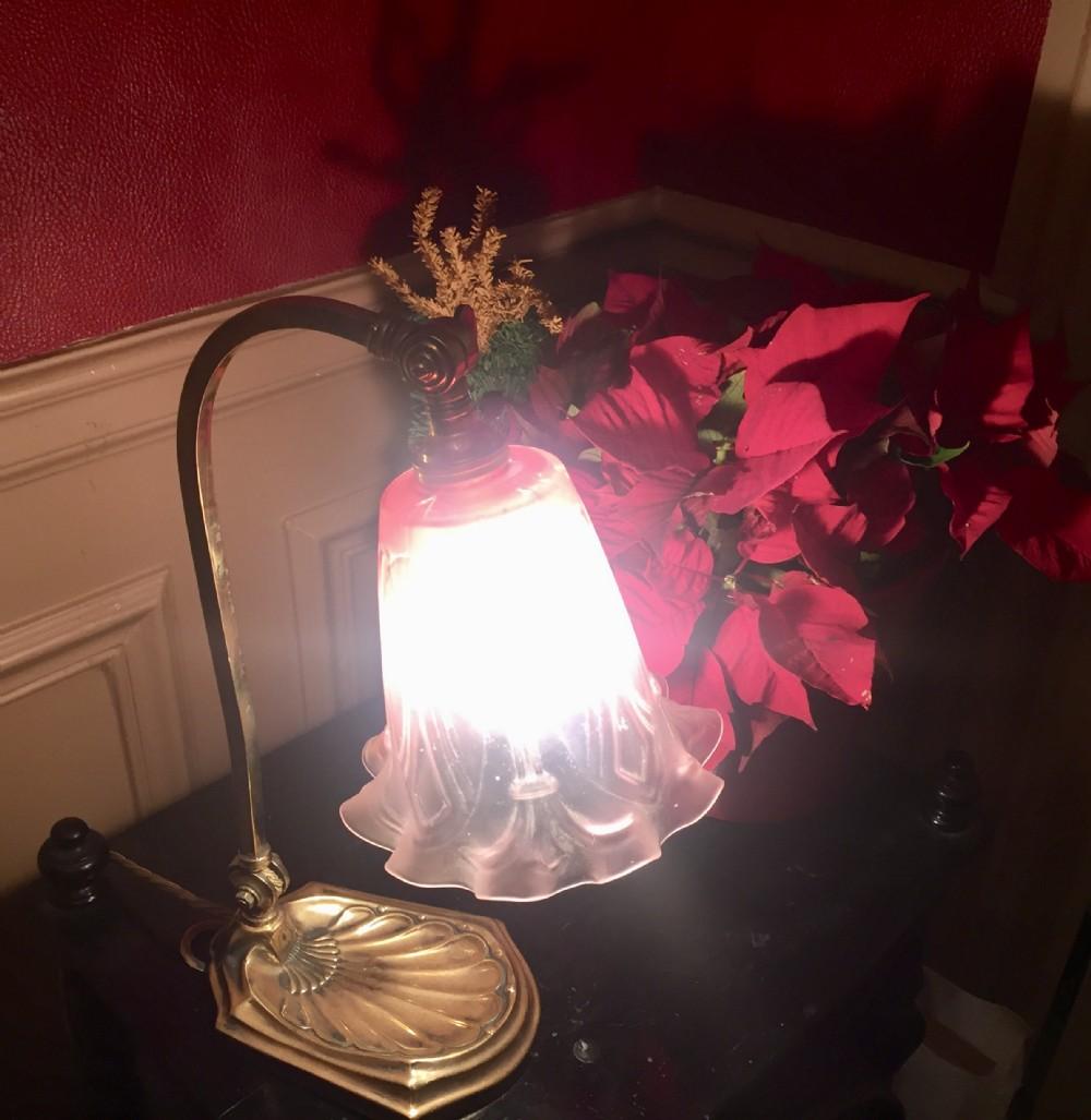 edwardian adjustable desk lamp brass and cranberry glass