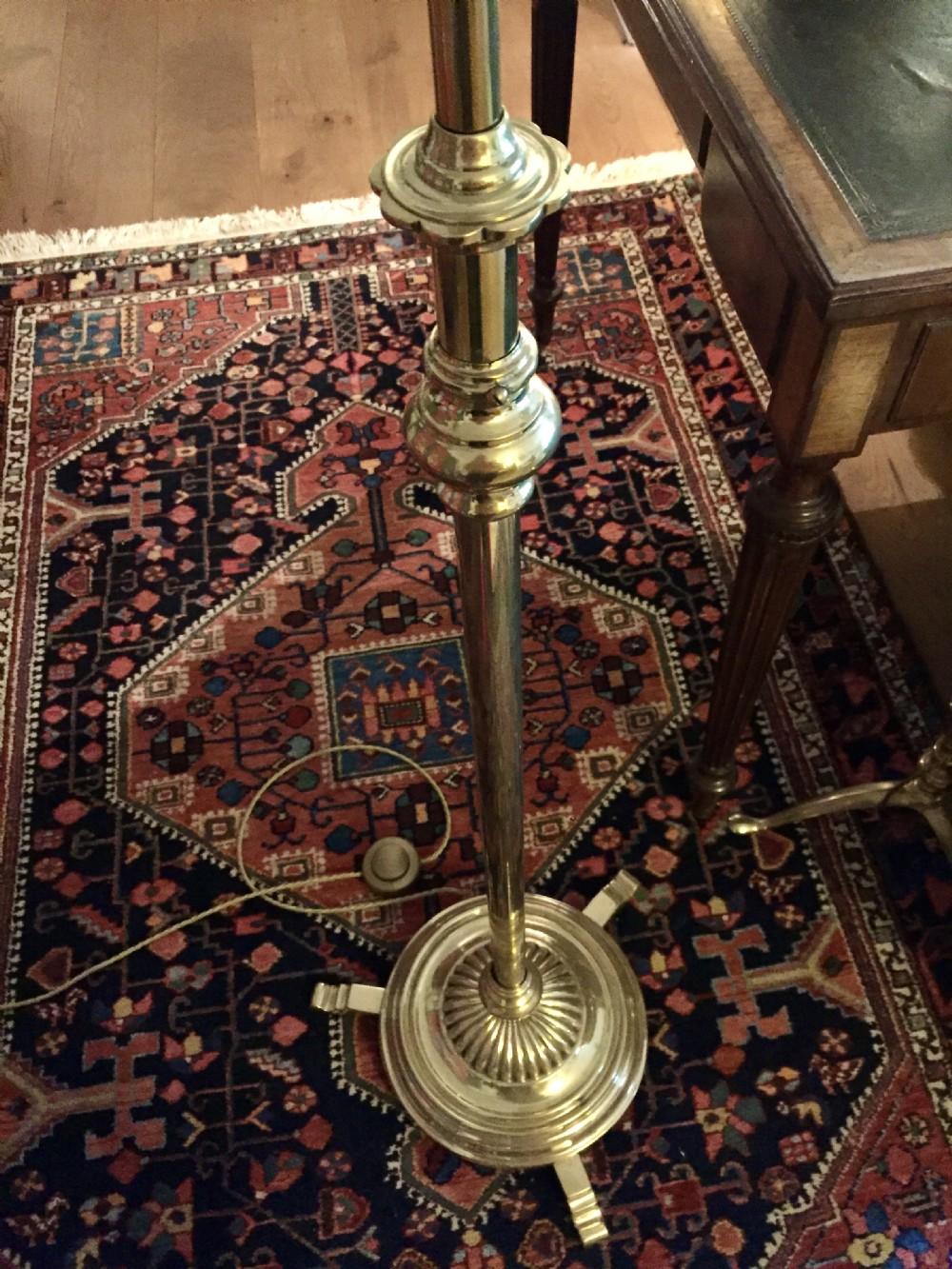 handsome edwardian telescopic standard lamp brass