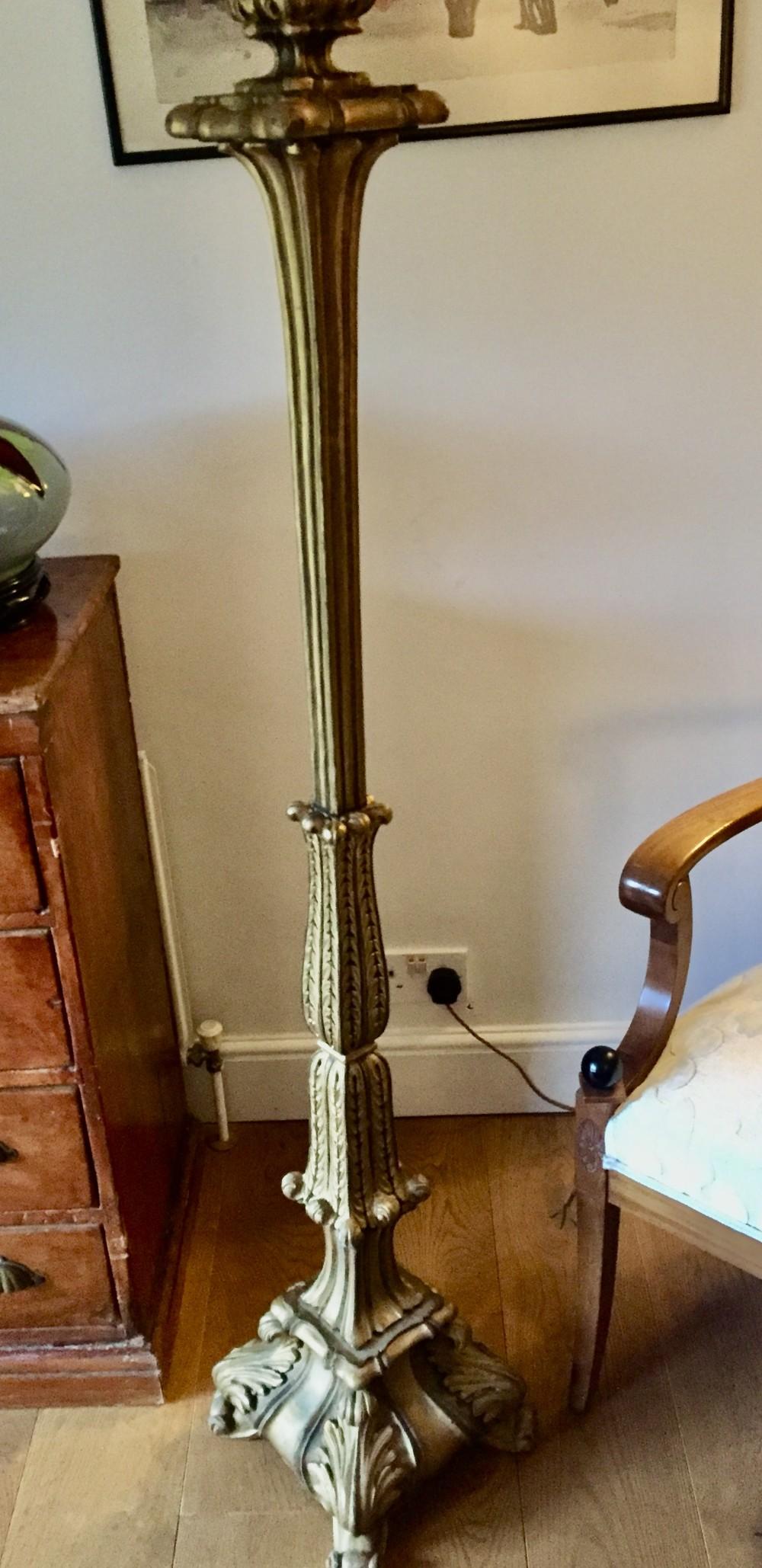 original 1910 french standard lamp giltwood