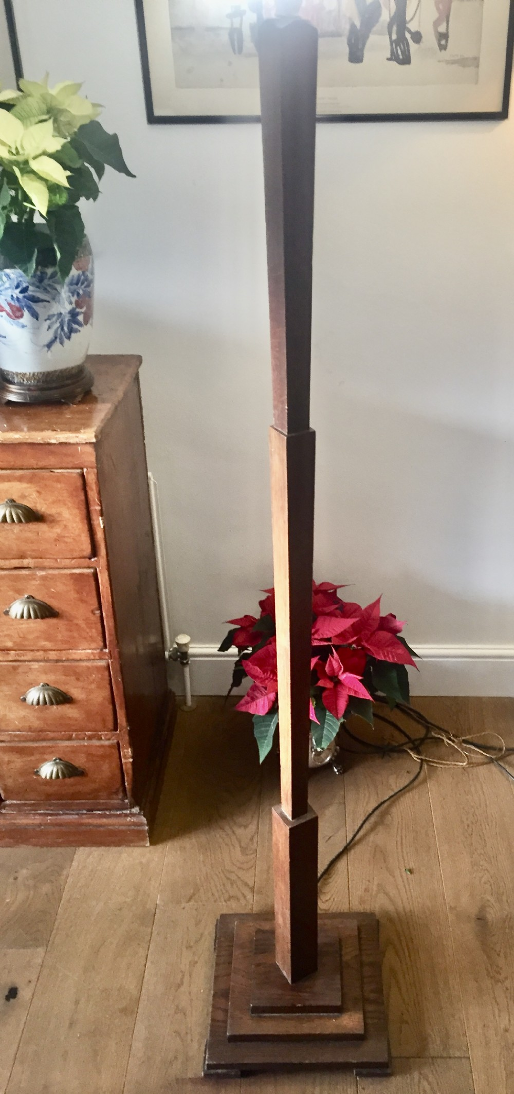 original art deco standard lamp oak