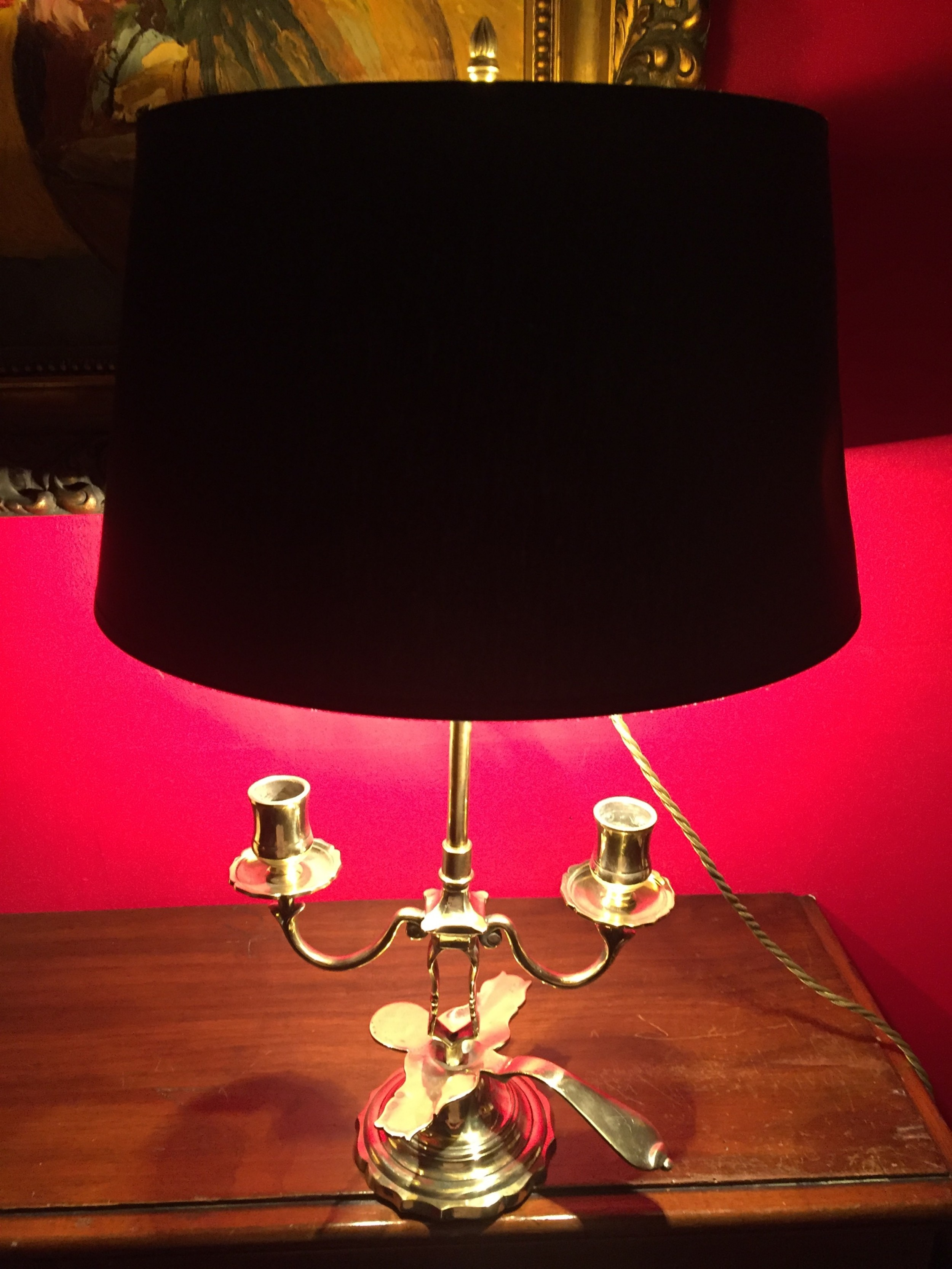 1900 french dual chamber stick desk lamp