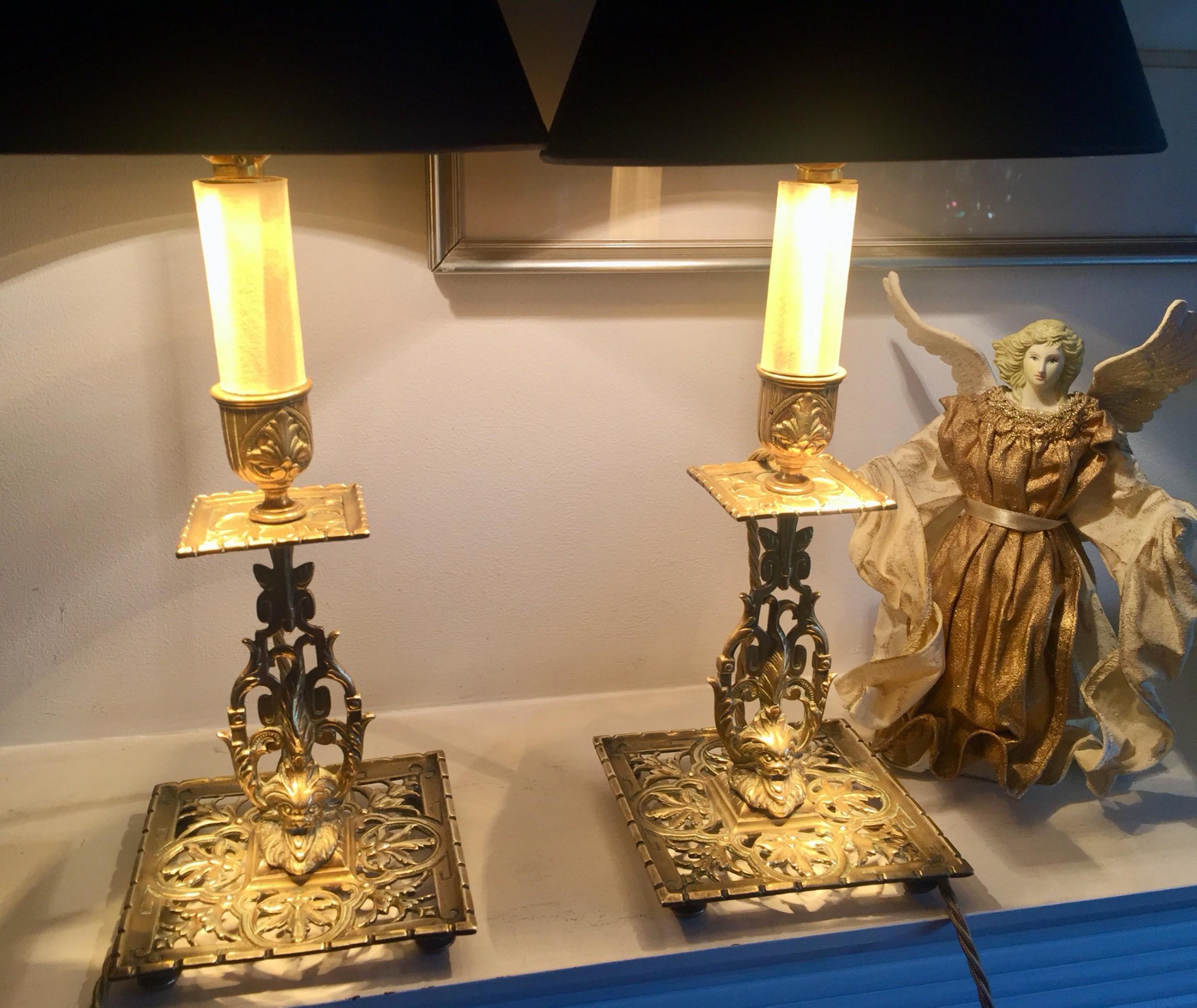 pair georgian pierced lamps bronze