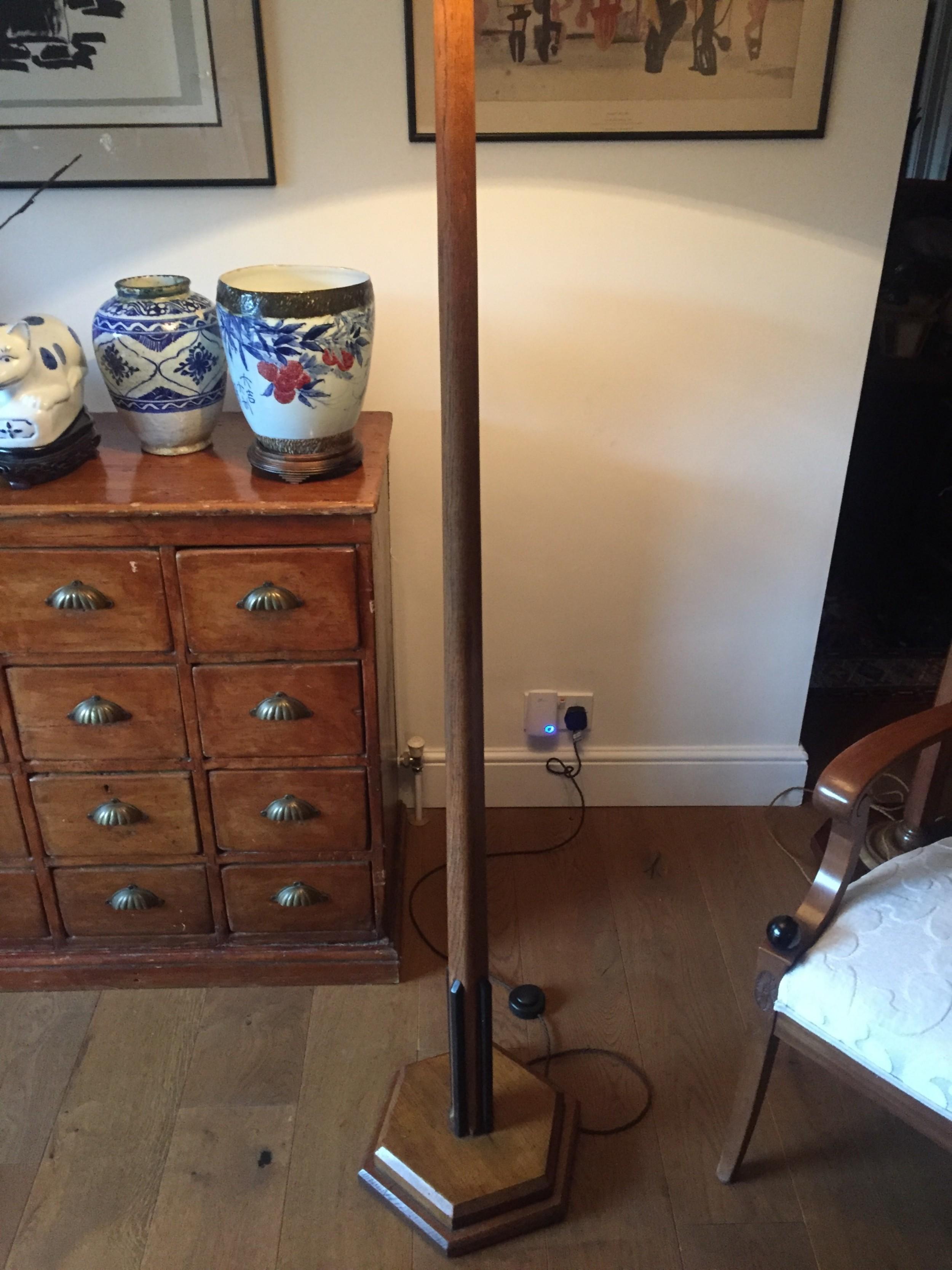 iconic art deco standard lamp golden oak and ebony