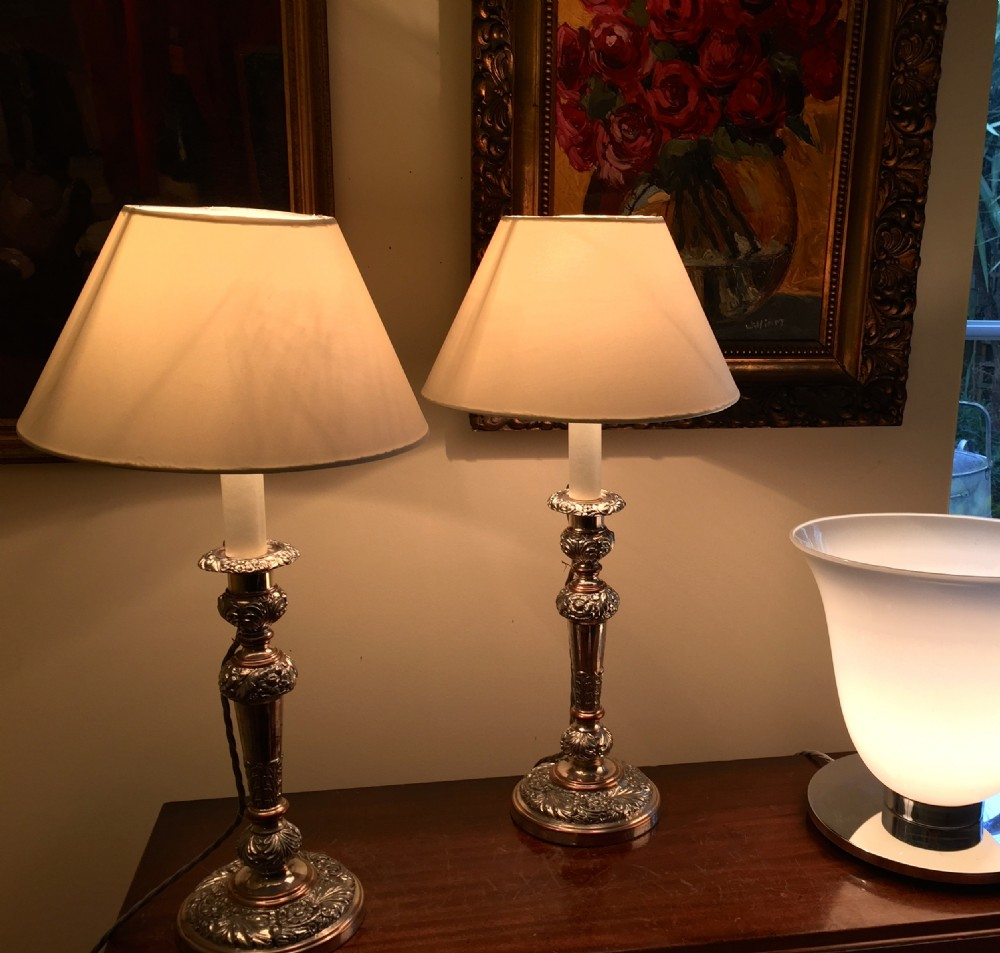 Victorian Table Lamps : Fine pair victorian table lamps silver on copper