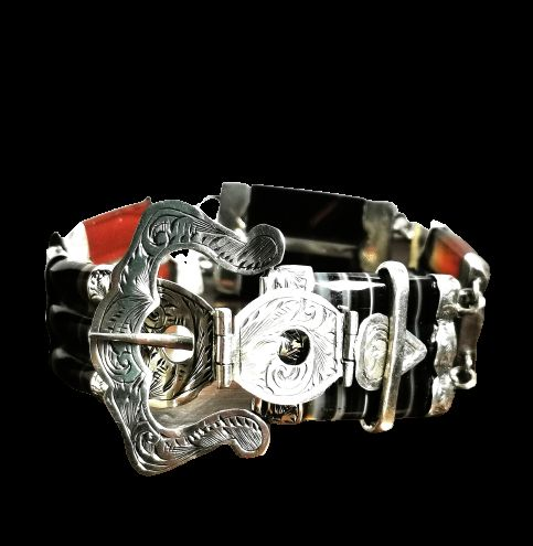 fine victorian scottish agate silver buckle bracelet