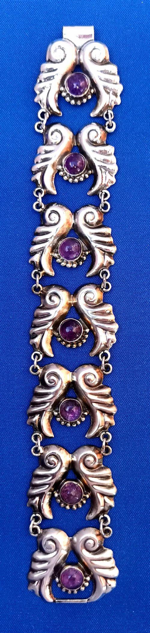 sterling silver mexican amethyst bracelet