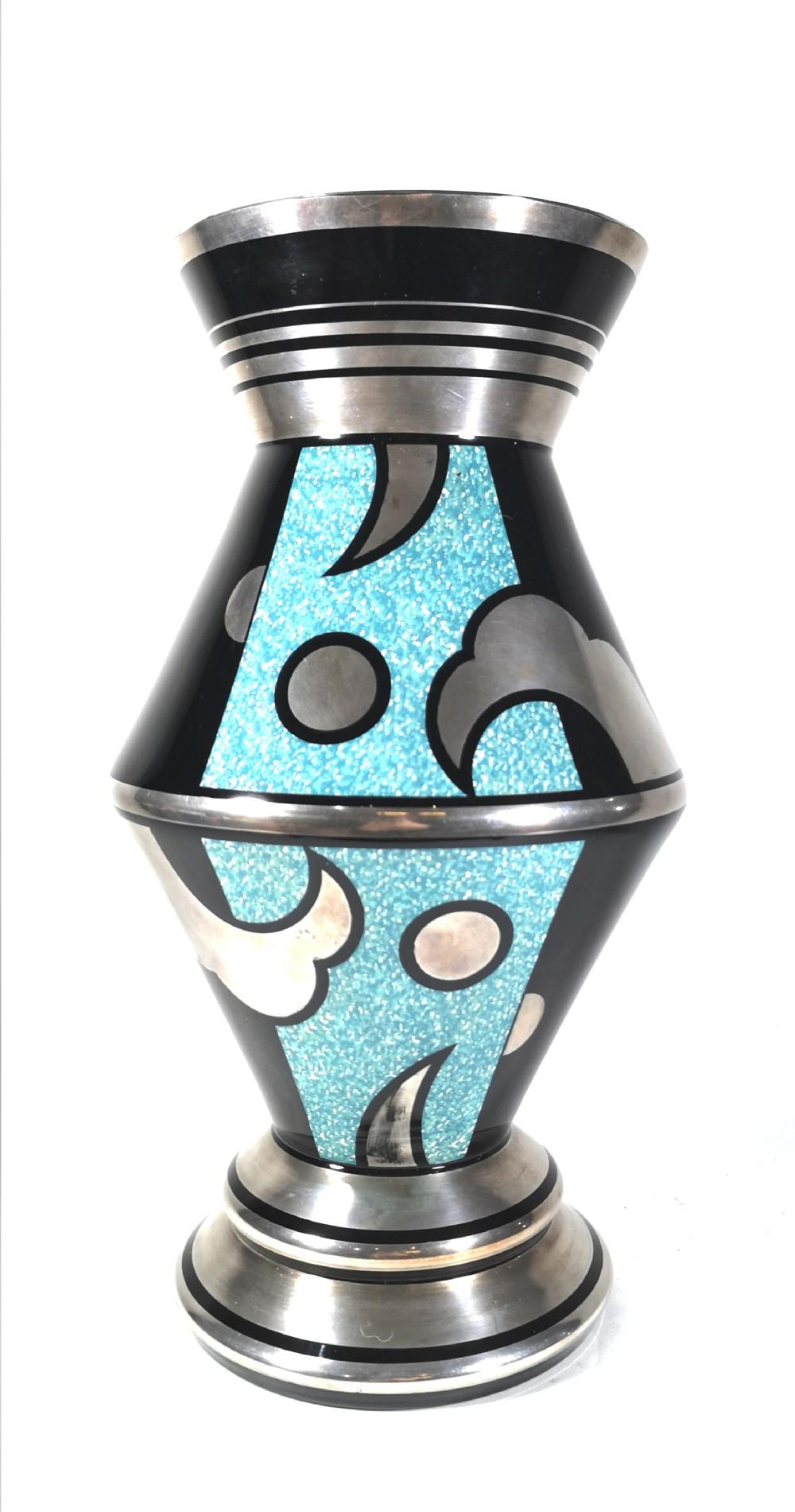 large hem art deco silvered enamel glass vase